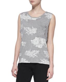 Womens Camo Lace Muscle Tank Top   Haute Hippie   Lhg/Ant ivoire (X SMALL)