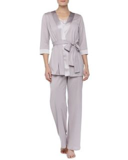 Womens Fernanda Satin Trim Robe, Rose Gray   Hanro   Rose gray (SMALL)