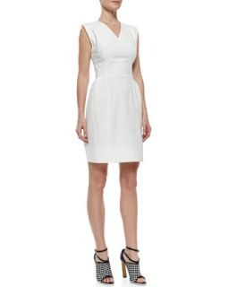 Womens V Neck Poplin Dress with Crisscross Back, White   Derek Lam   White (38)