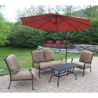 Oakland Living Hampton 4 Piece Chat Set with Sunbrella Cushions and Cantilever Umbrella   Conversation Patio Sets