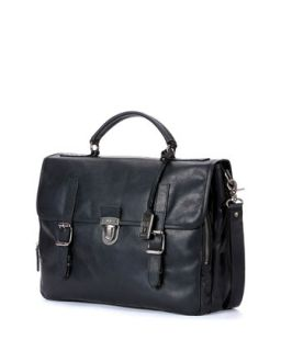 Mens Logan Buckled Briefcase, Black   Frye   Black