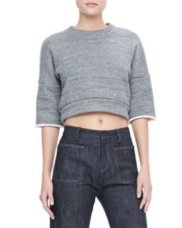 Womens Cropped Sweatshirt Pullover, Charcoal   Derek Lam   Charcoal (44)