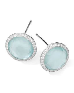 Stella Stud Earrings in Blue Topaz Doublet with Diamonds   Ippolita   Silver