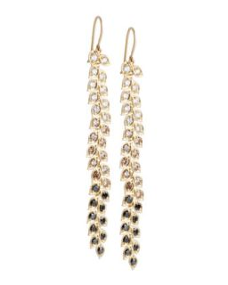 Long Vine Earrings with Black, White, and Cognac Diamonds   Jamie Wolf   White