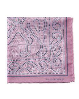 Mens Mosaic Pocket Square, Pink   Massimo Bizzocchi   Pink