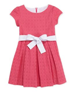Sammy Box Pleat Eyelet Dress, Pink, 2Y 10Y   Busy Bees