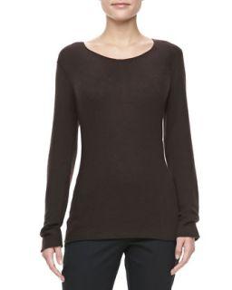 Womens Bias Knit Cashmere Sweater, Chocolate   Michael Kors   Chocolate