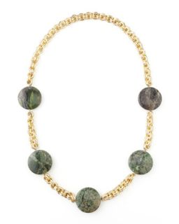 Turpan Jade Coin Necklace, Green   Devon Leigh   Green