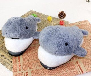 Grey Novelty Slippers Men Women Christmas Gifts Winter Whale Cartoon 3d Plush Slippers Anti skidding: Toys & Games