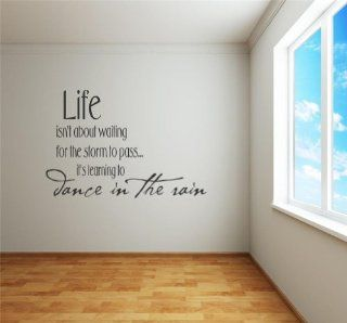 Design with Vinyl Design 127 Life Isn?t About Waiting For the Storm to Pass Its Learning to Dance In the Rain Picture Art Vinyl Wall Decal, Black