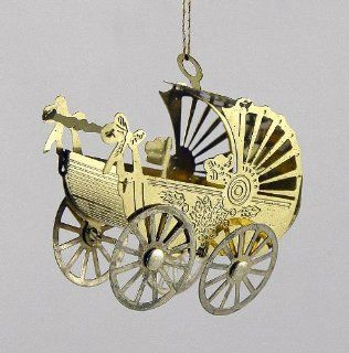 Tiny Thin Brass Baby Carriage Christmas Ornament   Decorative Hanging Ornaments