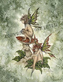 """Pixie Pair Amy Brown Open Edition 8.5"""" X 11"""" Fairy Print"""