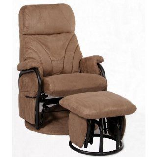 Mac Motion Chairs Model 2 Piece Glider, Swivel, Recliner with Matching Gliding Ottoman Mocha Microfiber with Black Metal Frame