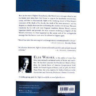 Night Elie Wiesel, Marion Wiesel 9780374500016 Books