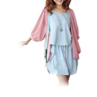 Pink Sheer Chiffon Half Sleeve Buttonless Bolero Shrug for Lady S