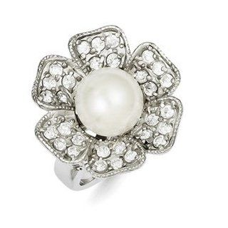 Sterling Silver Simulated Pearl & CZ Cocktail Ring Size 7 Flower Jewelry Jewelry