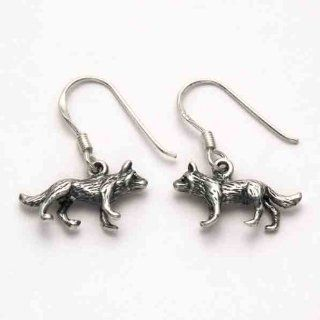 Sterling Silver Wolf Earrings: Dangle Earrings: Jewelry