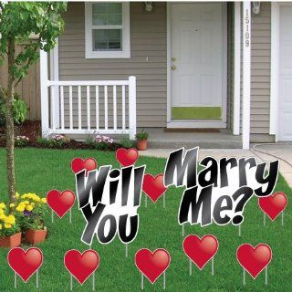 Will You Marry Me?   Yard Card Announcement Set   Get Engaged Set   Unique Wedding Proposal Idea!: Health & Personal Care