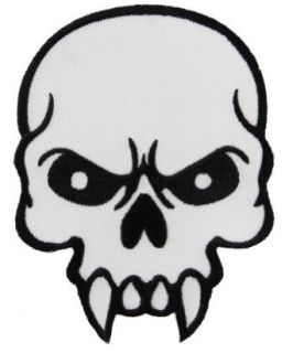 Mean Skull Embroidered Patch Skeleton Fangs Iron On Emblem: Apparel Accessories: Clothing