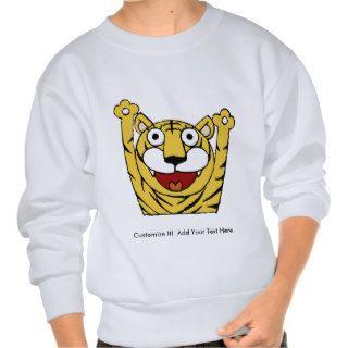 Tiger ~ Tigers Big Cat Cats Cartoon Animal Pull Over Sweatshirts