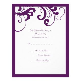 Purple and White Swirls Frame Wedding RSVP Invitation