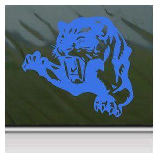 Cougar Pounce Mean Cat Growl Snarl Blue Decal Car Blue Sticker Automotive