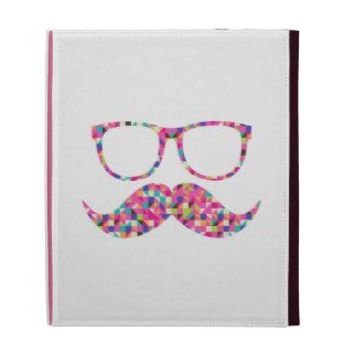 Funny Girly Pink Abstract Mustache Hipster Glasses iPad Folio Cover