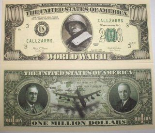 Set of 10 Bills World War II Million Dollar Bill Toys & Games
