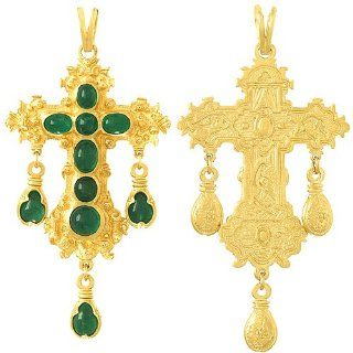 Gold Charm Pendant Emerald Large Cabachon Gold Cross: Million Charms: Jewelry
