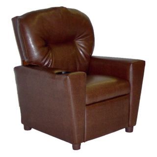 Dozydotes Kid Recliner with Cup Holder   Pecan Brown   Kids Recliners