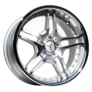 """Euromag EM2 19""""x8.5 19""""x9.5 Mercedes Benz C E Class Wheels Rims Silver Machine Chrome Lip 4pc   1Set: Automotive"""