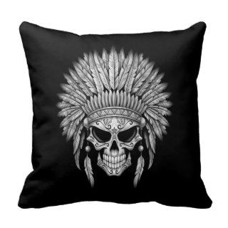 Dark Native Sugar Skull with Headdress Pillows