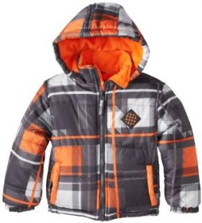Big Chill Toddler Boys Warm Plaid Printed Puffer Winter Jacket Coat 4T Charcoal Clothing