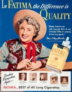 1951 Ad Fatima Cigarettes Ligget Myers Tobacco Mrs Clay Borden Nancy Kelly Smoke   Original Print Ad
