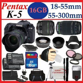 Pentax K 5 16.3 MP Digital SLR with 18 55mm Lens and 3 Inch LCD (Black) and Pentax DA L 55 300mm f/4 5.8 ED Lens with SSE 16GB Amazing Pro Package Includes 2 Batteries and charger, 2 lenses, Filter Kit Plus Much more : Digital Slr Camera Bundles : Camera &