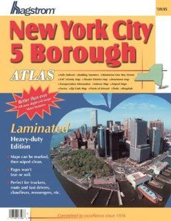 Hagstrom New York City 5 Borough Large Atlas [Theater District Map, Transportaion Info, Subway Map, Airport Map, Zip Code Map, Parks, Ferries & So Much More] Heavy Duty Edition LAMINATED & SPIRAL BOUND