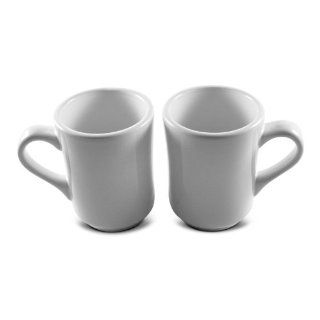 8 Oz. (Ounce) White Diner Style Coffee Mug, Coffee Mugs, Coffee Bar Cups, Restaurant Quality   Two (2) Sets Kitchen & Dining