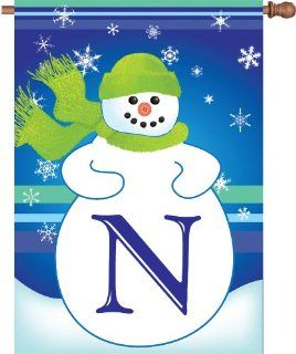 Premier Kites 52014 Winter Monogram House Flag, Letter N, 28 Inch : Outdoor Decorative Flags : Patio, Lawn & Garden