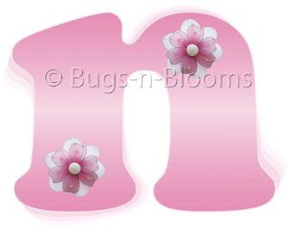"""n"" Pink Daisy Flower Alphabet Letter Name Wall Sticker   Decal Letters for Children's, Nursery & Baby's Room Decor, Baby Name Wall Letters, Girls Bedroom Wall Letter Decorations, Child's Names. Flowers Mural Walls Decals Baby Sho"