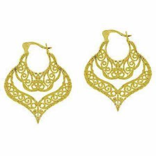 Gold Tone over Sterling Silver Antique Filigree Chandelier Earrings Hoop Earrings Jewelry