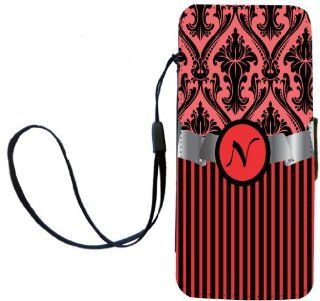"Rikki KnightTM Letter ""N"" Initial Red Damask and Stripes Monogrammed PU Leather Wallet Type Flip Case with Magnetic Flap and Wristlet for Apple iPhone 5 &5s: Cell Phones & Accessories"