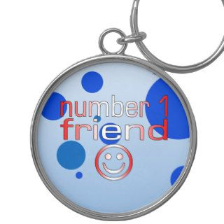 Number 1 Friend in Canadian Flag Colors for Boys Key Chains