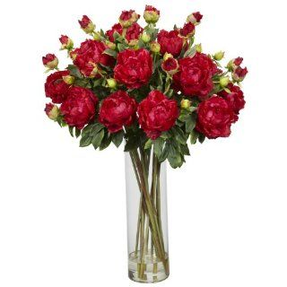 Nearly Natural 1231 RD Giant Peony Silk Flower Arrangement, Red   Artificial Mixed Flower Arrangements