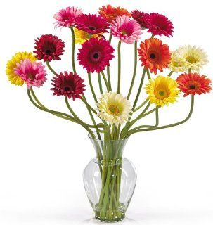 Nearly Natural 1086 AS Gerber Daisy Liquid Illusion Silk Flower Arrangement, Mixed   Artificial Mixed Flower Arrangements