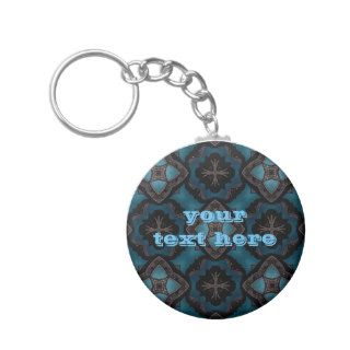 Blue and black Gothic medieval fantasy Key Chain