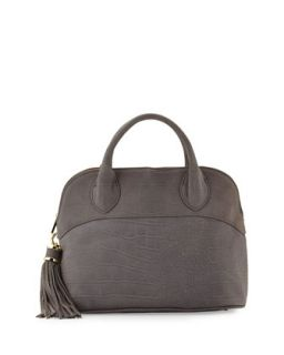 Crocodile Embossed Dome Tote Bag, Pewter   Ivanka Trump