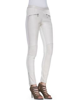 Womens Washed Italian Leather Moto Leggings, Off White   Andrew Marc x Richard