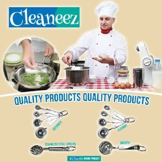 Stainless Steel Measuring Spoons Set   Smooth Handle   Elegant and Decorative Kitchen Utensils   For All Your Cooking and Baking Needs   Best One Year Guarantee (Made by Cleaneez) Kitchen & Dining