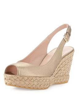 Jean Metallic Leather Jute Wedge, Ale   Stuart Weitzman   Ale (39.0B/9.0B)