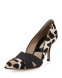 Stephanie Elastic Calf Hair Pump   Michael Kors   Suntan leopard (38.0B/8.0B)